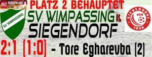 SVW-Siegendorf 2:1 (1:0)